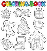 Coloring book gingerbread 1 — Stock Vector