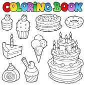 Coloring book various cakes 1 — Stock Vector