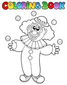 Coloring book with cheerful clown 1 — Stock Vector