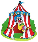 Cartoon clown in circus tent — Stock Vector