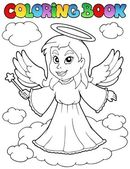 Coloring book angel theme image 1 — Stock Vector