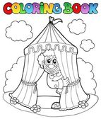 Coloring book with clown and tent — Stock Vector