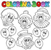 Coloring book with funny clowns — Stock Vector