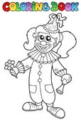 Coloring book with happy clown 5 — Stock Vector