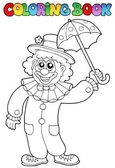 Coloring book with happy clown 6 — Stock Vector