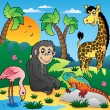 Vector de stock : African scenery with animals 5
