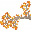 Cartoon tree branch with leaves 2 - Stok Vektr