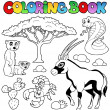 Coloring book savannah animals 1 - Stok Vektör