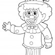 Coloring book with cheerful clown 3 - Stock Vector