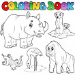 Coloring book zoo animals set 1 - Stock Vector