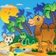 Desert scene with various animals 1 — Imagen vectorial