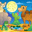 Stock Vector: Desert scene with various animals 3