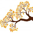 Tree branch with orange leaves 1 - Stock Vector