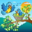 Two blue birds with tree branch - Imagens vectoriais em stock