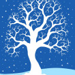 White tree on blue background 1 — Stock Vector #8445334