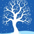 White tree on blue background 1 — Stock Vector