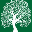 White tree on green background 2 — Stock Vector