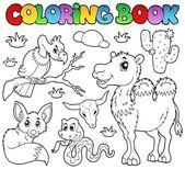 Coloring book desert animals 1 — Stock Vector