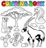 Coloring book savannah animals 1 — Stock Vector