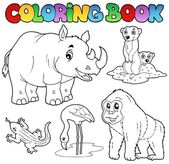 Coloring book zoo animals set 1 — Stock Vector