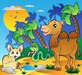 Desert scene with various animals 1 — Stock Vector