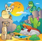 Desert scene with various animals 4 — Stock Vector