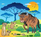 Savannah scenery with animals 3 — Stock Vector