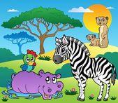 動物 4 とサバンナの風景 — ストックベクタ