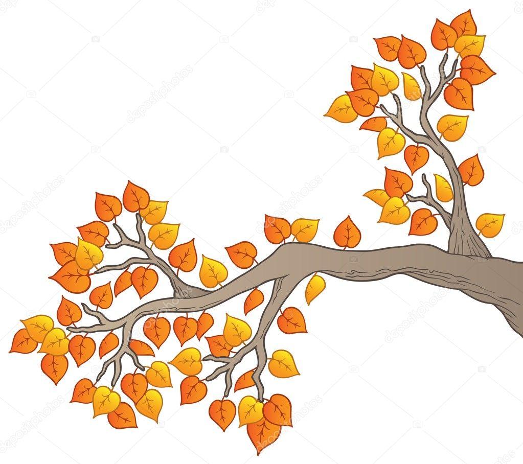 Branche d arbre dessin anim  233  avec feuilles 2     Image vectorielle