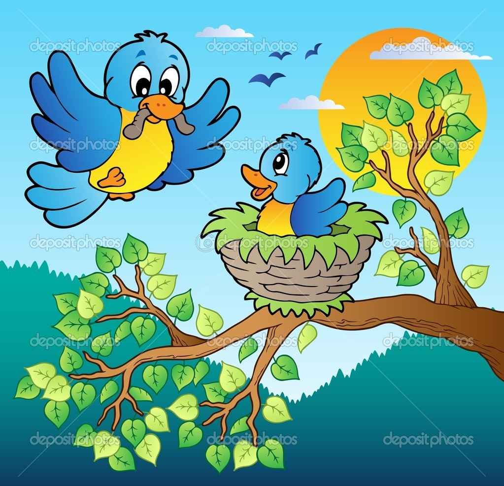 Two blue birds with tree branch - vector illustration. — Stock Vector #8445328