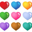 Stock Vector: Various color hearts collection 1