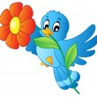 Blue bird carrying flower - Stock Vector