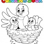 Coloring book bird theme 1 — Stock Vector #9028676