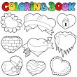 Coloring book hearts collection 1 — Stock Vector
