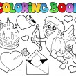 Coloring book Valentine theme 4 — Stock Vector