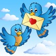 Two cute birds with love letter 1 — Vettoriali Stock