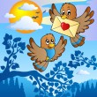 Two cute birds with love letter 2 — Imagen vectorial