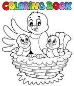 Coloring book bird theme 1 — Stock Vector