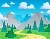 Mountain theme landscape 1 — Stock Vector