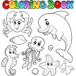 Coloring book various sea animals 2 — Stock Vector