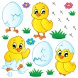Stock Vector: Cute chickens collection