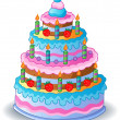 Decorated birthday cake 1 — Stock Vector