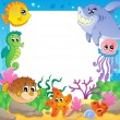 Stock Vector: Frame with underwater animals 2
