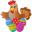 Stock Vector: Hen with various Easter eggs