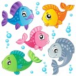 Stock Vector: Various cute fishes collection 3