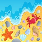 Beach with shells and sea animals 1 — Stock Vector