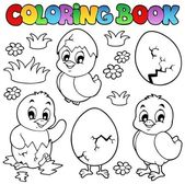Coloring book with cute chickens — Stock Vector
