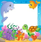 Frame with underwater animals 1 — Stock Vector