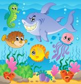 Image with undersea theme 3 — Stock Vector