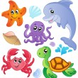 Stock Vector: Sea fishes and animals collection 3